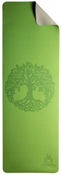 Yogamatte TPE ecofriendly - Weltenbaum, hellgrün/grau