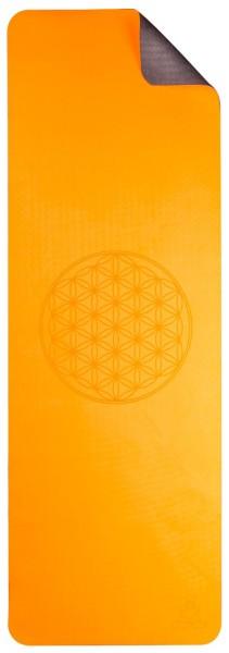 Yogamatte TPE ecofriendly - Blume, orange/grau