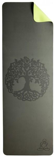 Yogamatte TPE ecofriendly - Weltenbaum, dunkelgrün/hellgrün