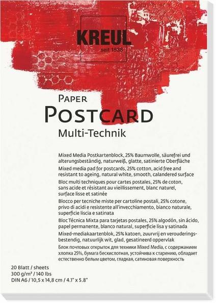 KREUL Paper Postcard Multi-Technik 300 g, 20 Blatt