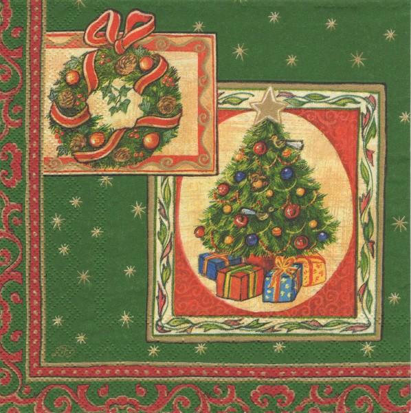 """Serviette - Weihnachten """"Santa grün"""""""