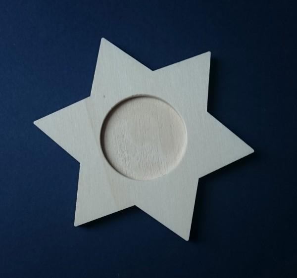 Untersetzer Teelichthalter aus Holz zum Gestalten - Stern
