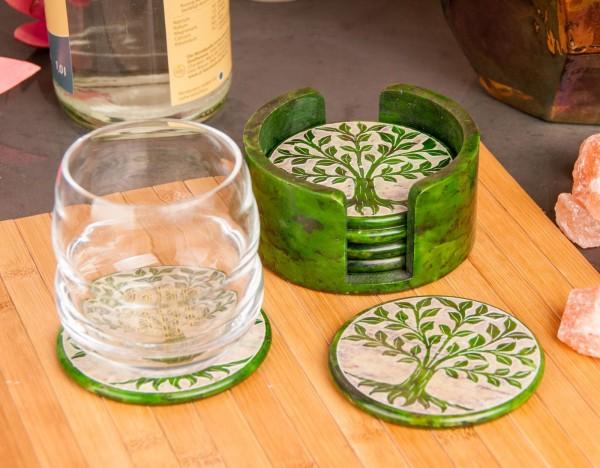 Yggdrasil Untersetzer aus Speckstein, grün, 6er Set