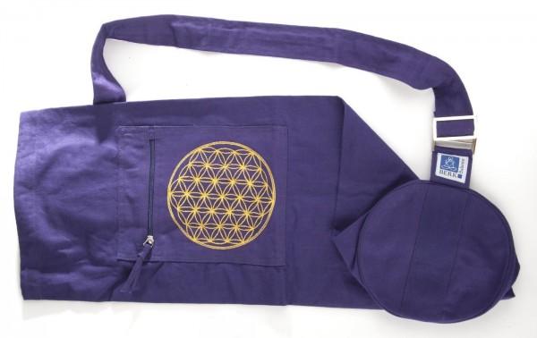 Yogatasche mit Blume des Lebens Stickerei, lila