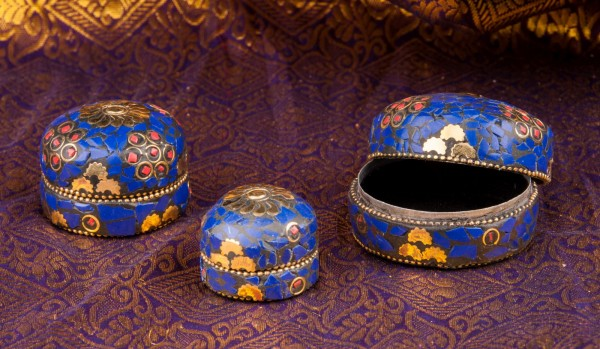 Mamallapuram Steindöschen-Set, blau