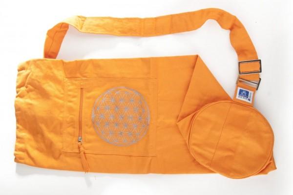 Yogatasche mit Blume des Lebens Stickerei, orange