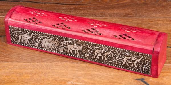 Räucherbox Elefant Holz, rot