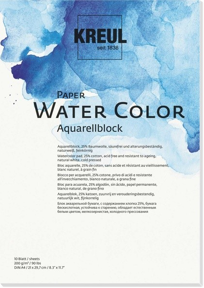 KREUL Paper Water Color Aquarellblock 200 g, 10 Blatt