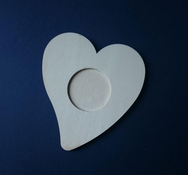 Untersetzer Teelichthalter aus Holz zum Gestalten - Herz