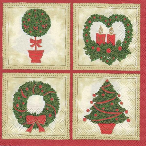 """Serviette - Weihnachten """"Kränze"""""""