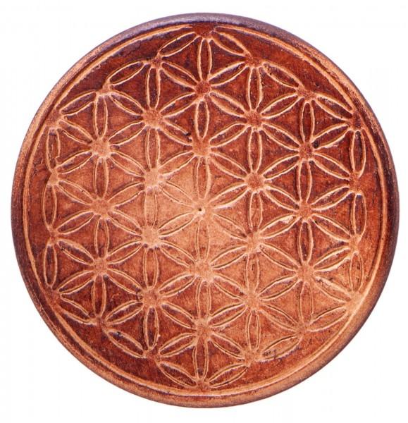 Gefäßuntersetzer aus Holz mit Blume des Lebens, 6 Stück